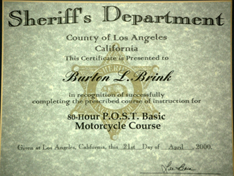 Motorcycle Training Certificate